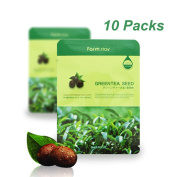 [ 10 Packs ] Farm Stay Deep Moisturising Rich Green Tea Seeds Visible Face Facial Mask Sheet 23ml/0.78 fl.oz