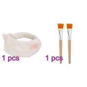 Frcolor 2 Facial Mask Brush with Cute Makeup Headband for Applying Facial Mask Eye Mask or DIY Needs