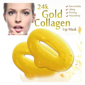 5 Masks 24K Gold Collagen Lip Treatment Mask Patches. Plumper Fuller Softer Lips. Anti Ageing Reduce Fine Line Wrinkles Creases Hydrating Moisturising Uplifting Tone Firmer Smooth Lips Regeneration.