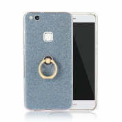 Moonmini Huawei P10 Lite. Case Cover Sparkling Slim Fit Soft TPU Back Case Cover with Ring Grip Stand Holder 2 in 234 Hybrid Glitter Bling Bling TPU phone Case Cover