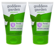 Goddess Garden Facial Natural SPF30 Sunscreen (Pack of 2) with Aloe Vera, Shea Butter, Safflower Seed Oil, Lavender Oil, Immortelle Oil and Vitamin E, 100ml