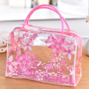 Datingday Transparent PVC Flower Clear Cosmetic Travel Bag Pouch Waterproof Makeup Toiletry