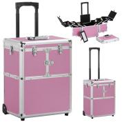 Yaheetech Artist Rolling Trolley Makeup Beauty Train Case Cosmetic Organiser,Pink,15.2 x 10.4 x 44.5''