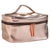 Rose Gold Metallic Makeup Bag for Travel & Storage, Made of Vegan Leather