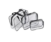 3Pcs Clear PVC Cosmetic Bag Organiser Toiletry Makeup Wash Bags Holiday Travel Pouch Set Doubtless Bay
