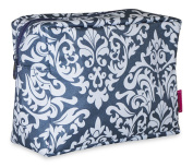 Ever Moda Grey Damask Cosmetic Pouch