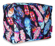 Ever Moda Neon Feathers Cosmetic Pouch