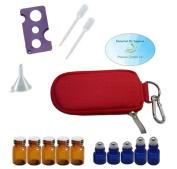 10 Bottle Essential Oil Padded Keychain Carrying Case Travel Bag, Roller Bottles and Euro Orifice Reducer Bottles, Bottle Opener, Funnel, Pipettes