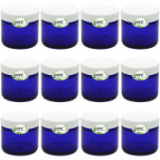 12 x 60ml New & Empty Cobalt Blue Glass Jars with White Ribbed Skirt Liner Lids by COTU (R)