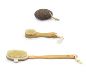 MH ZONE Natural Bristle Bath and Shower Brush with Long Bamboo Detachable Handle and Face Cleansing Brush With Natural Boar Bristles, Free Gift Pumice Stone