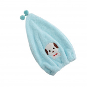 Efivs Arts Dry Cute Cartoon Soft Coral Fleece Children Shower Cap Absorbent Dry Hair Cap Kids Quick Drying Towel Head Wrap Set-Dog