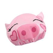 Efivs Arts EVA Waterproof Lined Children Shower Cap Bath Hair Cap Kids Cartoon Shower Hat-Pig