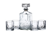KitchenCraft BarCraft Cut-Glass Whisky Decanter and Tumbler Gift Set, Clear, 5-Piece