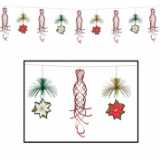 Club Pack of 12 Red, Green and Gold Poinsettia Shimmer Garland Christmas Hanging Decorations 3m