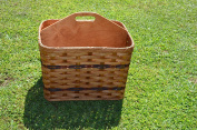 Amish Handmade Magazine Basket with Solid Wood Handled Divider, Will Look Great in Any Office Waiting Area