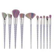 Makupp 10pcs Unicorn Makeup Brush Set Professional Foundation Powder Cream Blush Brush Kits