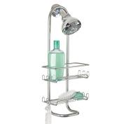 mDesign Classic Bathroom Shower Caddy for Shampoo, Conditioner, Soap - Silver