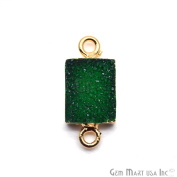 Green Druzy Connector 8x10mm Bugget 22k Gold Electroplated Gemstone Connector Pendant 1pc