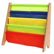 HOMFA Kids Book Rack Storage Sling Bookshelf 4-Tier for Toy Display, Natural/Primary