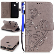 FESELE Huawei P9 Lite Case Bling Bling Sparkling PU leather Cover with Rhinestone Diamond Design Butterfly Flower PU Leather Bookstyle Wallet Case Magnetic Closure with Stand Function PU Leather Wallet Flip Cover Sleeve Card Slot and Banknotes Pocket w ..