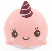 Singleluci Soft Cartoon Squishy Whale Slow Rising Squeeze Toy Phone Straps Pink