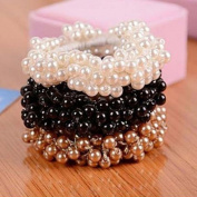3pcs Women's Girls Faux Pearl Beads Hair Band Rope Scrunchie Ponytail Holder