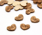 100 Pcs Baby Shower Heart Shape Wedding Confetti Wood Wedding Party Table Decoration Baby Shower Supplies