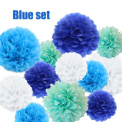"""Party Tissue Pom Poms 16 Tissue Paper Flower Balls (8"""" 10"""" 14"""") Hanging Decorations for Wedding, Bridal Shower, Baby Shower, Birthday Table and Wall Decor"""