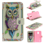 Leather Kickstand Case for LG Stylo 3(2017) with [Tempered Glass Screen Protector], Anti Scratch Flip Wallet Case, Magnetic Folio Case Cover for LG Stylo 3/Stylus 3/LS777-Colourful Owl