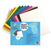 Craftables Heat Transfer Vinyl Popular 12 Bundle 30cm x 25cm - (12) Sheet Colour Pack of Assorted Colours - T-Shirt Vinyl, Iron On Vinyl, for Silhouette Cameo, Cricut - Ships Flat, Guaranteed Size