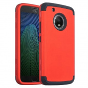 Moto G5 Plus Case, Ranyi [Full-body Protective Armour] [Shock Absorbing] [Hybrid 3 in 1 Design] High Impact Dual Layer Rugged Case Cover for Motorola Moto G5 Plus [5.2 Inch] (2017), red