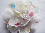 YYCRAFT Pack Of 5 Large 10cm Party Dots Mesh Lace 4D Chiffon Flower