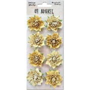 Vintage Shades Blossoms 3.2cm 8/Pkg-Yellow