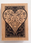 1 pc large Wooden Heart Love Rubber Stamp Block