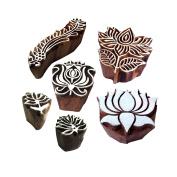 Artistic Pattern Finger and Lotus Wood Print Blocks