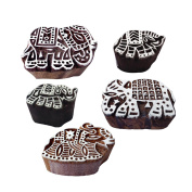 Crafty Pattern Assorted and Elephant Wooden Blocks for Printing