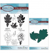 Prickley Pear Oak and Maple Leaf Clear Stamp and Die Set - CLR018 PPRS-D018 - Bundle 2 Items