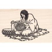 Basket Weaver Rubber Stamp American Indian