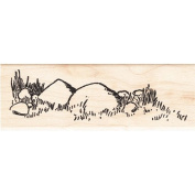 Rocks in Grass Rubber Stamp Scenic Stamp