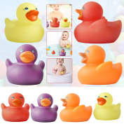 Safekom ® 4 x Magically Colour Changing Soft Rubber Ducks Fun Baby Kids Bath Squeaky Toy Duck Time Heat Warm Water