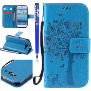 FESELE Samsung Galaxy S3 Case PU Leather Flip Wallet Case [Butterfly Tree Flower Cat Pattern] Embossing PU Leather Bookstyle Wallet Case Magnetic Closure with Stand Function PU Leather Wallet Flip Cover Sleeve Card Slot and Banknotes Pocket with Hand S ..