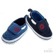 Soft Touch Baby Boy Boating Yachting Style First Walking Shoe. Available in Blue or Dark Blue and to fit ages 0-3mths, 3-6mths and 6-12mths.