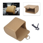 beler Beige Universal PU Leather Car Air Vent Outlet Storage Case Bag Pouch Holder Cellphone Hanging Organiser Container