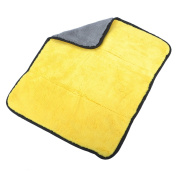 VALYRIA Ultra Thick Microfibre Car Cleaning Cloths Car Valet Polish Products Fast Drying Auto Datailing Towel Yellow and Grey