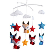 [Foxes and Stars] Newborn Baby Crib Mobile, Colourful Hanging Decor Gift
