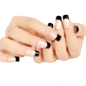 JINDIN 24 Sheet French Fake Nails Acrylic Nail Art Tips Salon Manicure Nail Decals Full Cover Press on Nails for women and girl Black