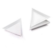 White Triangle Plates For Nail Rhinestones Container Bead Mini Holder Nail Art Picking Tool 5Pcs