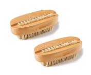 Le Fu Li 2 Pcs Natural Bristle SPA Two-Sided Nail Brush