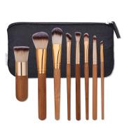 JaneDream 8 Pcs Wooden Eyebrow Eyeshadow Blusher Brushes Set With Free Cosmetic Bag