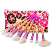 JaneDream 7 Pcs Kabuki Mermaid Eyebrow Makeup Brushes Flower Style Fan Blush Cheek Brush Set #D